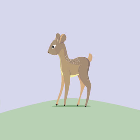 Cute cartoon baby fawn standing in a clearing, vector illustration of character