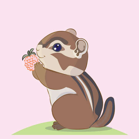 Cute cartoon little Chipmunk keeps berries blackberries in the legs, vector illustration character