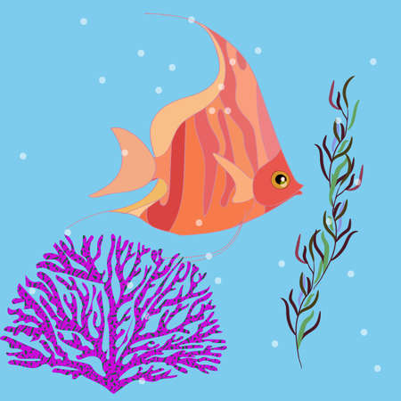 Fantastic cute fish in the sea, seaweed and corals nearby, vector illustration