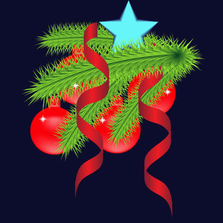 Christmas card with spruce branch, beautiful, bright balls and other decorations. Vector illustration
