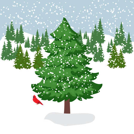 Vector illustration of a winter snow covered forest clearing with a large beautiful fir tree in the foreground