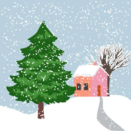 Vector illustration of a snow covered village with a large beautiful fir tree in the foreground