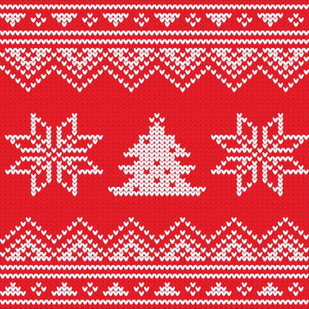 Knitted product with Christmas elements, sweater in Scandinavian style, vector illustration