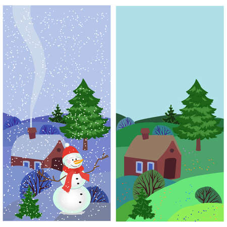 Cute greeting card with the village landscape in winter and summer, vector illustration