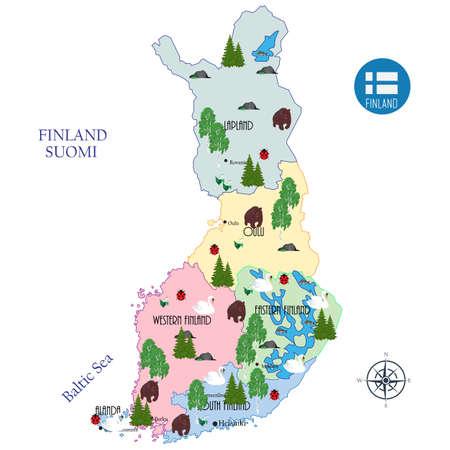 Touristische Karte von Finnland, Verwaltungsbezirken und Hauptstädten, sieben Symbole des Landes-Birke, Sieben-Punkt-Marienkäfer, Granit, Schwan, Barsch, Maiglöckchen, Bär. Vektor-Illustration Vektorgrafik