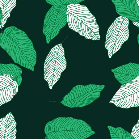 Seamless background with fantastic tropical plants on a bright background, cartoon style, vector illustration 向量圖像