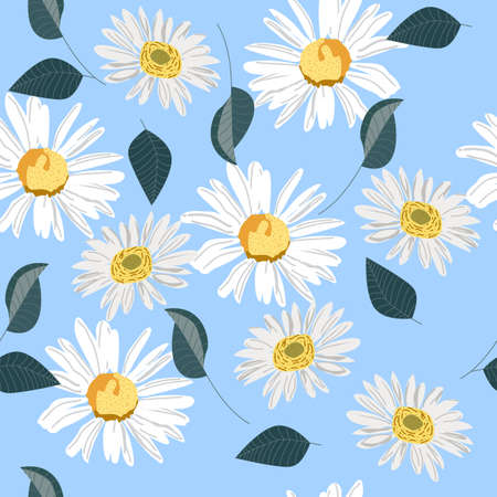 Seamless pattern of field daisies, delicate flowers on a light background, pattern for textiles, packaging as a background