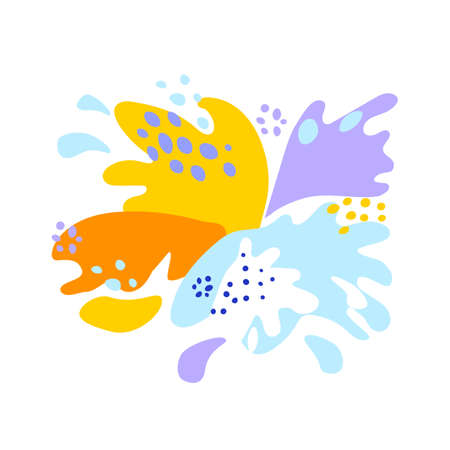 Splash and fall, movement of liquid, splashes of juice and yogurt, drops and drips. Vector abstract illustration