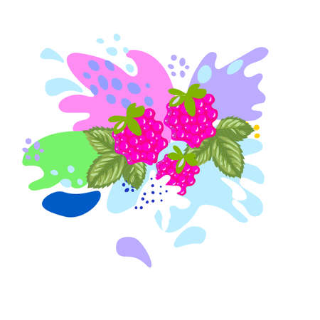 Splashes and falling, motion of a fluid, raspberries with a splash of juice and yogurt, drops and stains. Abstract vector illustrations