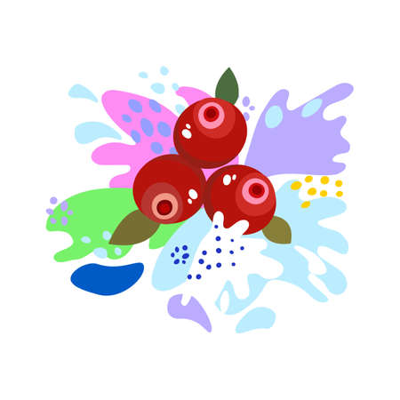 Splashes and falling, motion of a fluid, berries cranberries with a splash of juice and yogurt, drops and stains. Abstract vector illustrations