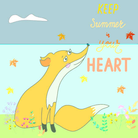 Autumn landscape with a Fox, sad, sad Fox, vector illustration. Lettering phrase Keep summer in your heart