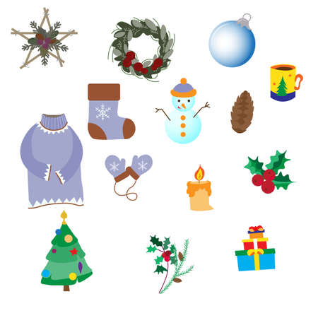 Winter set of decoration items, snowman and Christmas tree, star, glass ball and elegant wreath, gifts, sweater and mittens, poinsettia and much more, vector illustrationia