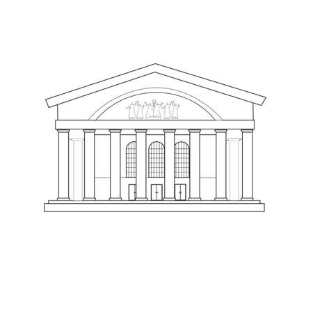 The building of the musical theater in my city. Linear sketch of a solemn cultural architectural structure.
