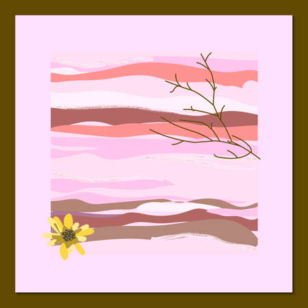 Poster of modern art in pastel colors. Abstract elements, leaves and fruits, branches. Great design for social networks, postcards, printing.