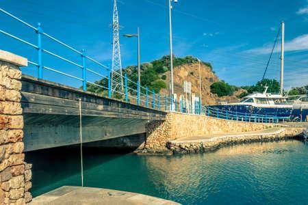 Bridge in the midle of the harbor Stock Photo