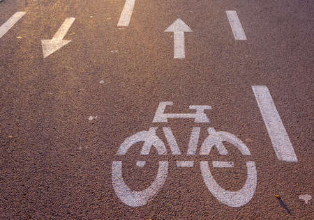 Bike and arrow directions painted on asphalt photo