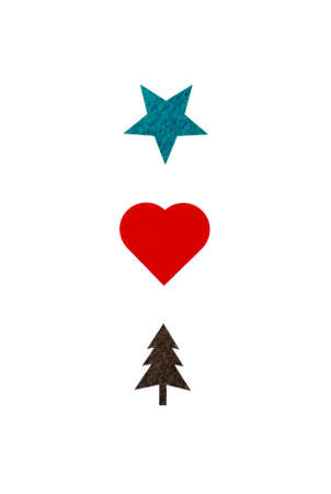 Creative card with a green star, red heart and brown christmas tree illustration isolated on white background Stock Photo