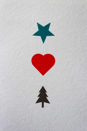 Creative card with a green star, red heart and brown christmas tree illustration