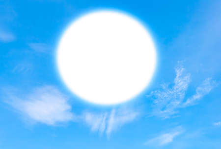 Blue sky with clouds with circle to write