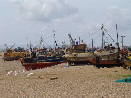 fishing fleet: Fishing fleet on beach                           Stock Photo
