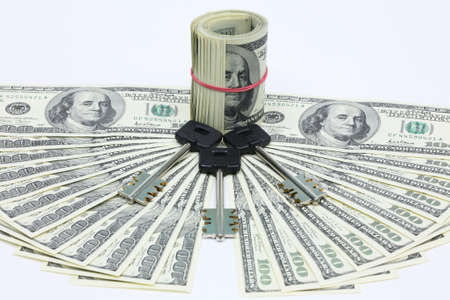 subsidize: Keys lay near to a roll of banknotes, and around the American dollars