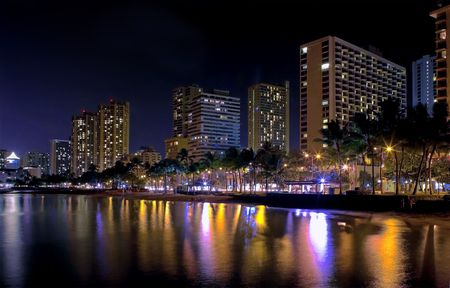 Waikiki at night (Honolulu, Oahu, Hawaii)