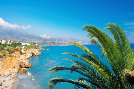 A photo of the coast of Costa Del Sol from a luxury villa Banque d'images