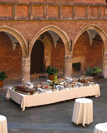A photo of a formal dinner hall Zdjęcie Seryjne