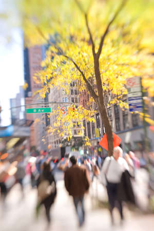 People on the streets of New York - lens and motion blurred photo