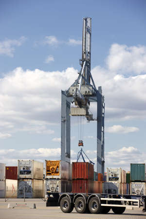 stowing: A sharp and detailed a very huge and strong crane