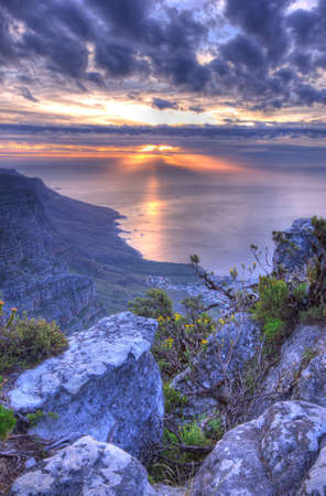 cape town: the Twelve Apostles in Cape Town, South Africa . Photo taken f rom the top of Table Mountain Stock Photo