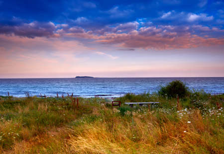 Land Sonnenuntergang am Meer - Dänemark Standard-Bild