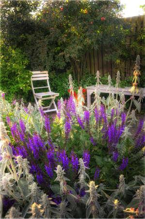 Schönen Garten bei Sonnenuntergang - Blumen und Möbel