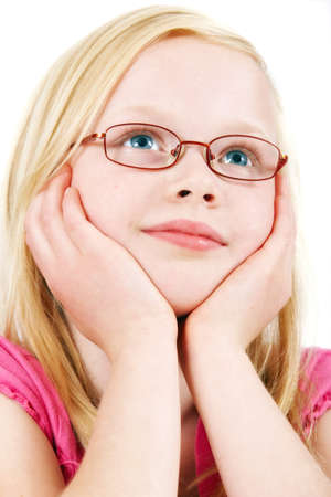 safety glasses: A cute little blond girl dreaming