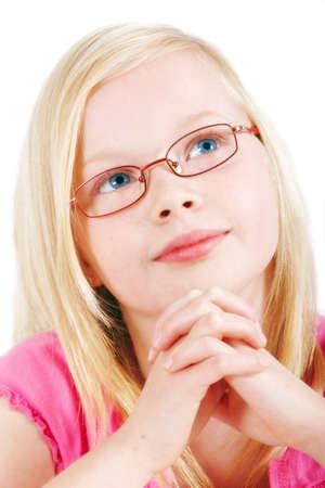 A cheerful and cute blond girl with eyeglasses photo