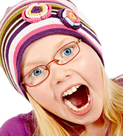 A photo of a Beautiful blond girl with hat making faces