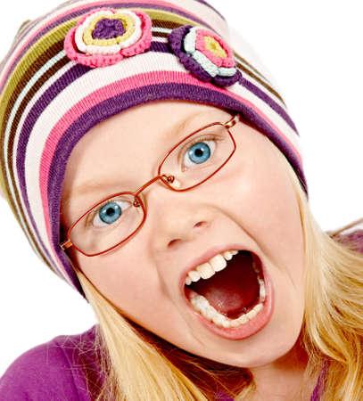 making faces: Una foto di una ragazza bellissima bionda con cappello di facce Archivio Fotografico