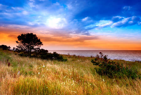 country sunset by the sea - Denmark Stock Photo