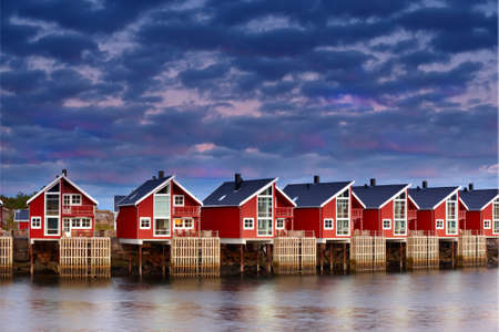 Harbor houses in Svovlvaer, Lofoten, Norway photo