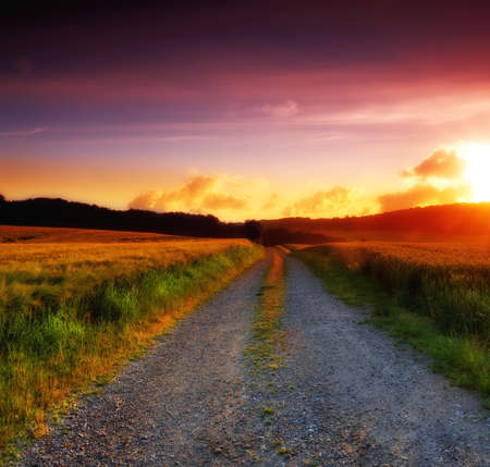 dirt road: Road and countryside during sunset Stock Photo