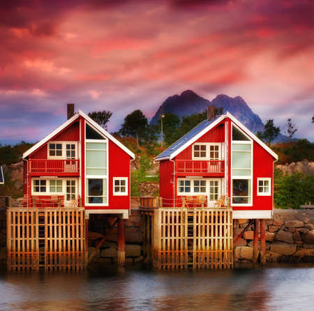 Harbor houses in Svovlvaer, Lofoten, Norway photo