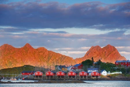 a photo of private Harbor houses in Svovlvaer, Lofoten, Norway photo