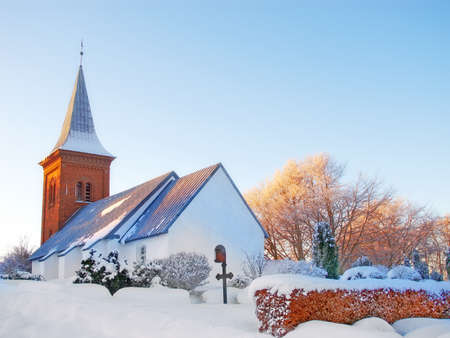 A photo of a Danish Church in winter photo