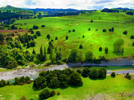 rolling landscape: Landscape photo from New Zealand - nature and river