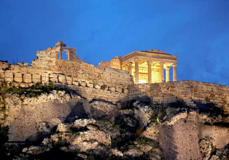 a photo of Parthenon, Athens Acropolis by night