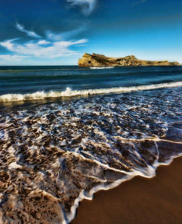 Ein Foto von einem wunderschönen Strand - Neuseeland Standard-Bild