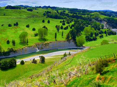 rolling landscapes: Landscape photo from New Zealand - nature and river