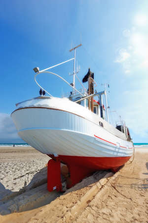 fishingboat: A photo of a Danish fishing boat at the beach Stock Photo