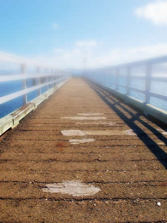 foot bridges: A photo of Small bridge and water - morning fog