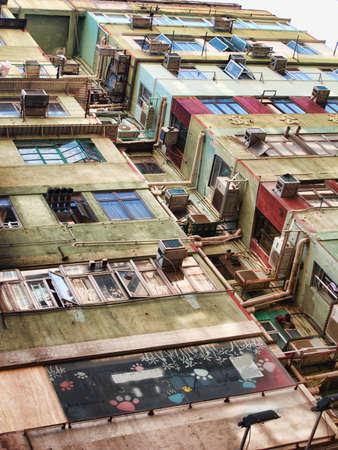 krottenwijk: Een foto van sloppenwijk huizen in Hong Kong Stockfoto